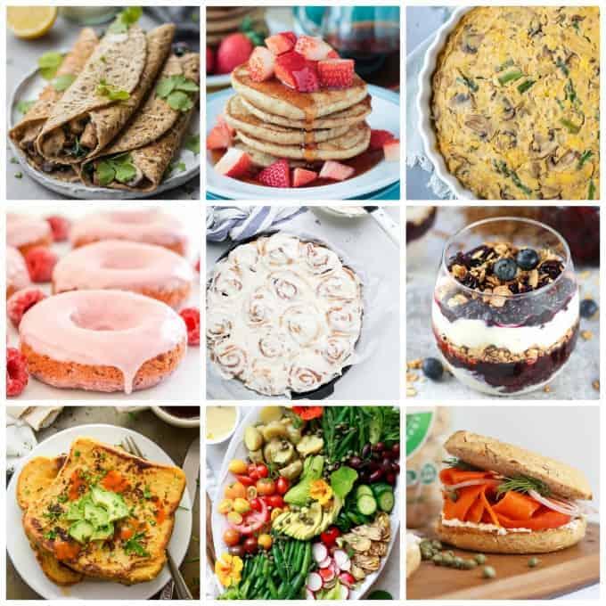 Collage of 9 vegan brunch recipes