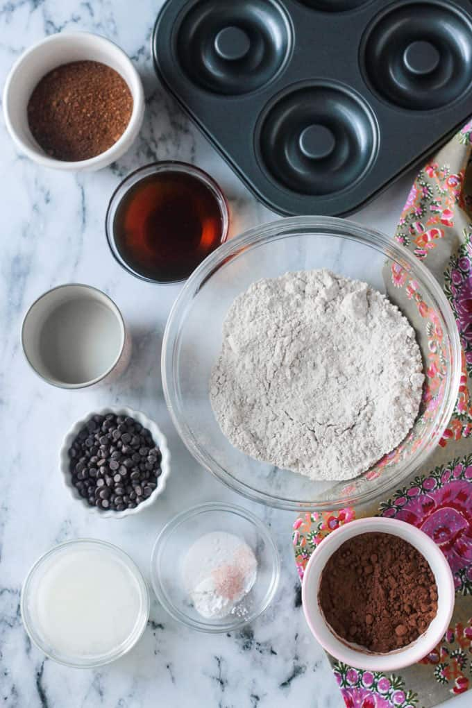 Vegan donut recipe ingredients each in individual bowls