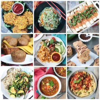 Collage of 9 zucchini recipes.