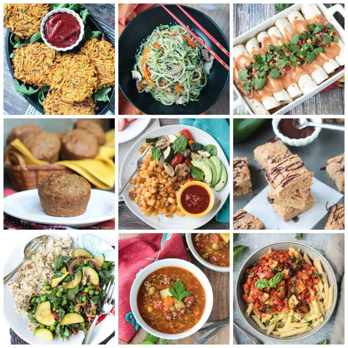 collage of zucchini recipes for social media