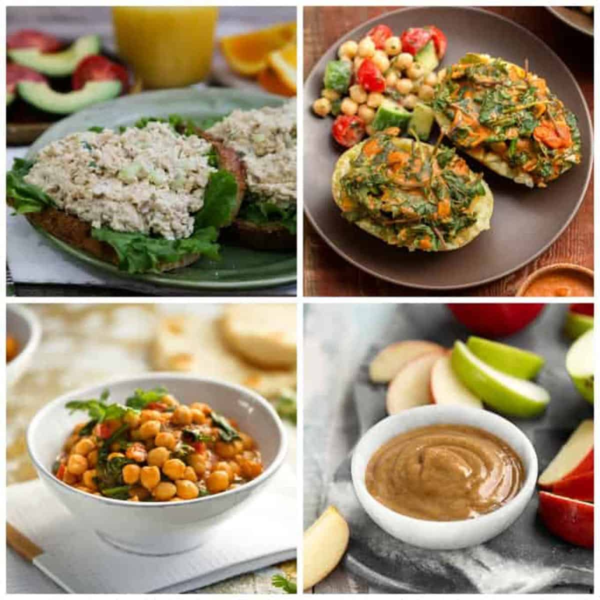 4 photo collage of a variety of recipes from the cookbook.