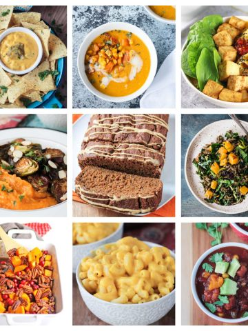 9 photo collage of a variety of butternut squash recipes