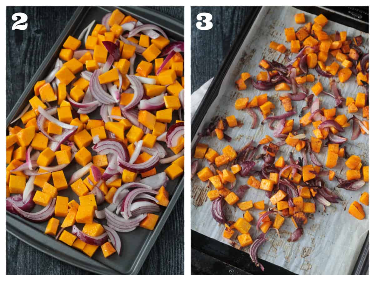 2 photo collage of roasted vegetables on a baking sheet before and after roasting.