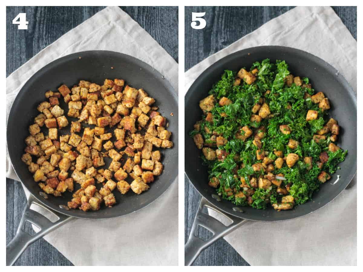 2 photo collage of sautéing crumbled tempeh and adding kale.
