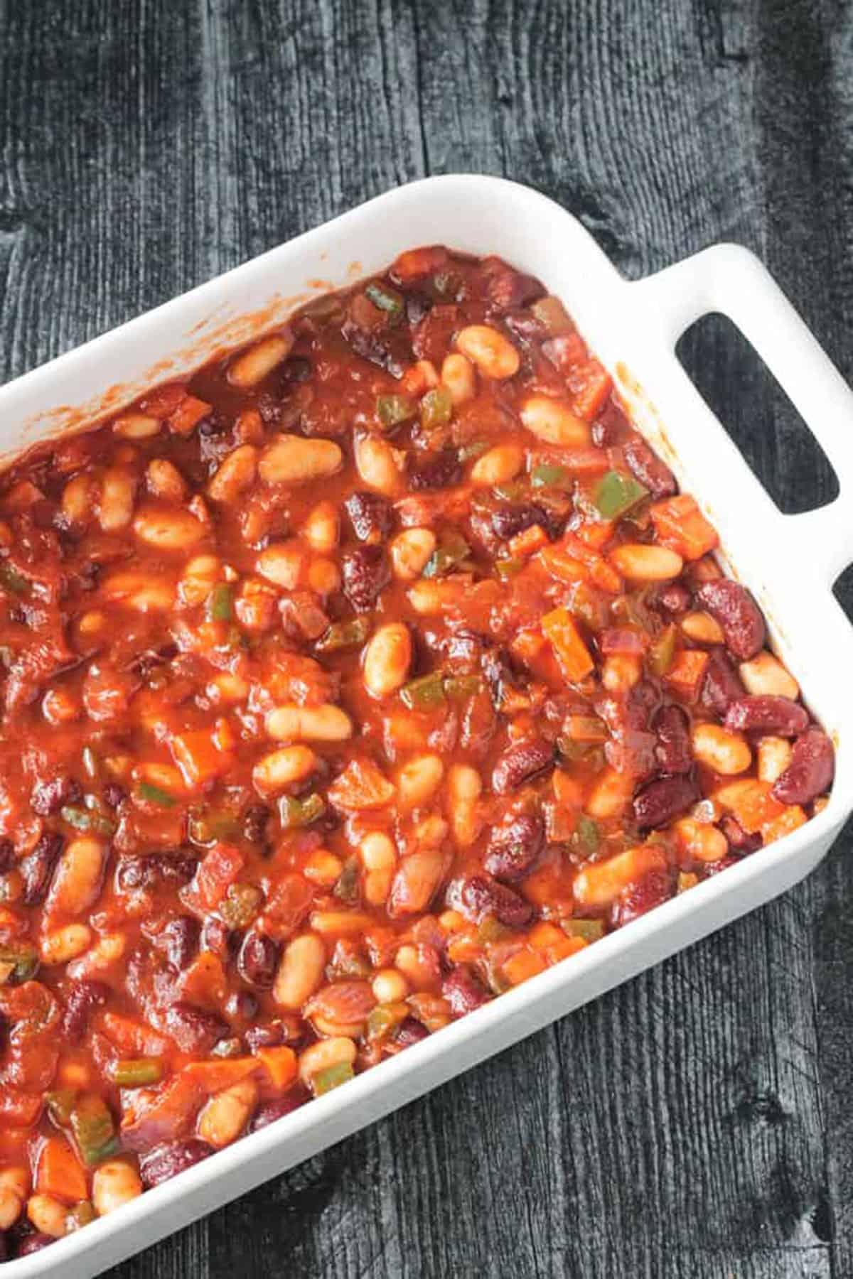 Bean filling in a rectangular baking pan.
