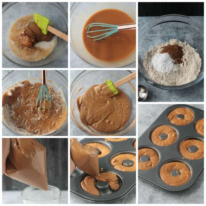 Step by step photos, depicting how to make vegan baked pumpkin donuts, in a collage