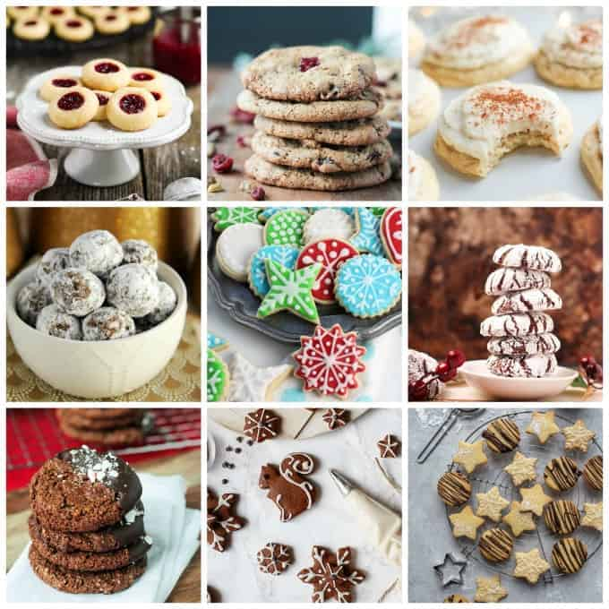Photo collage of 9 different vegan Christmas cookies