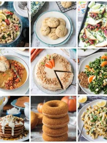 collage of 9 photos of delicious vegan recipes from 2019
