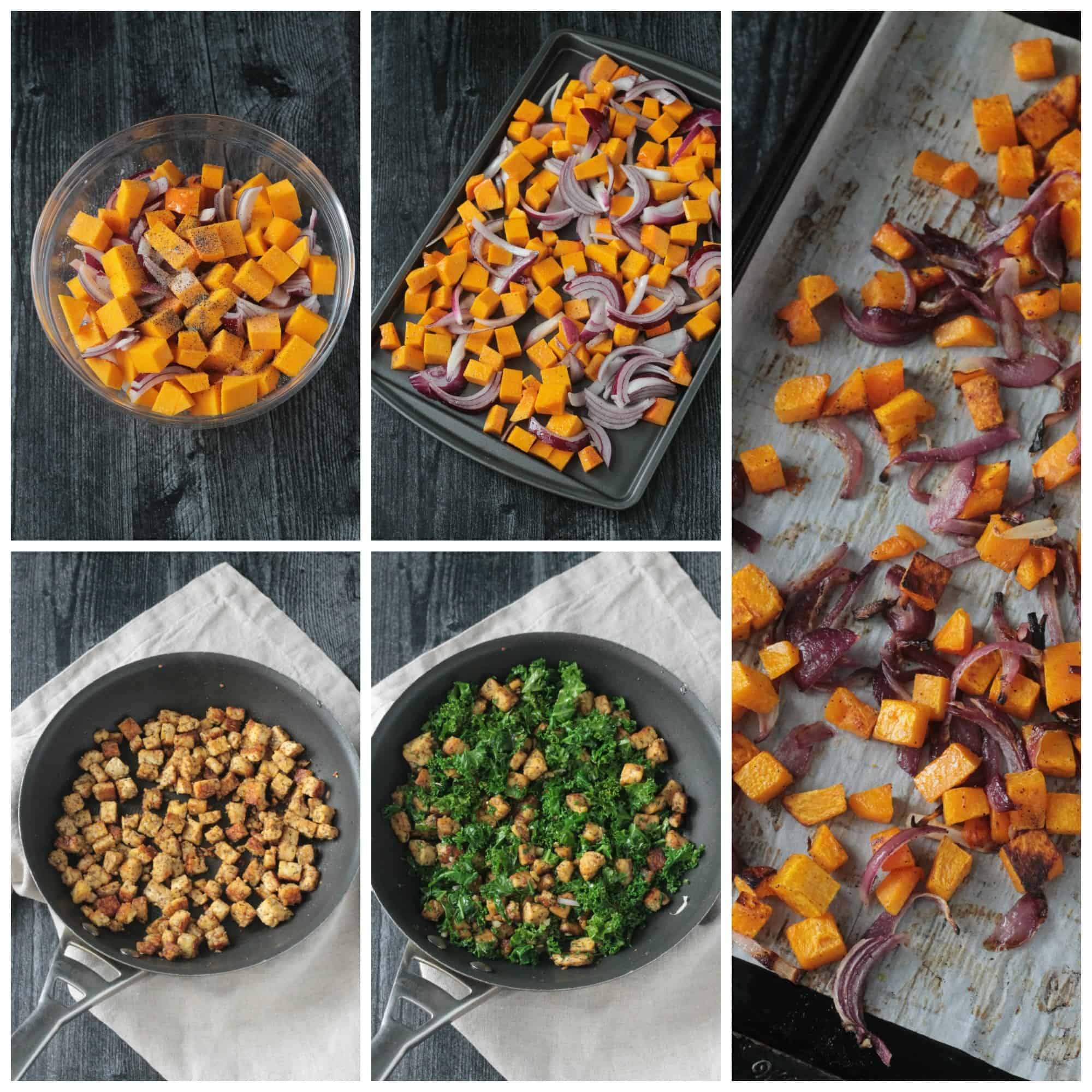 Step by step photo collage showing how to make Fall Roasted Vegetable Pasta recipe