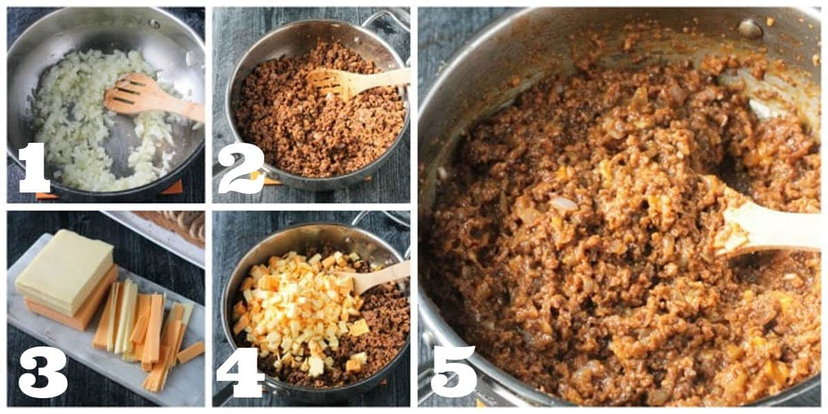 5 photo collage of the step by step process to make this recipe.