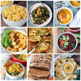 collage of 9 vegan butternut squash recipes