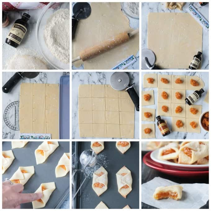 collage of step by step photos showing how to roll out, cut, and fill the kolaczki dough