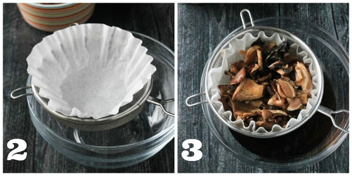 Two photo collage showing how to soak and drain dried mushrooms in a coffee filter.