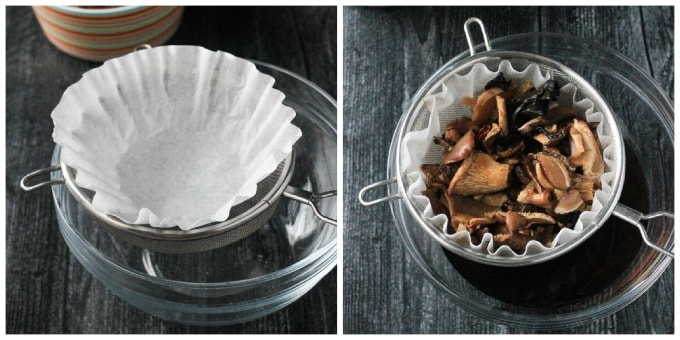 Photo showing how to strain soaked dried mushrooms