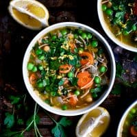 Chickpea Noodle Soup with Parsley and Lemon