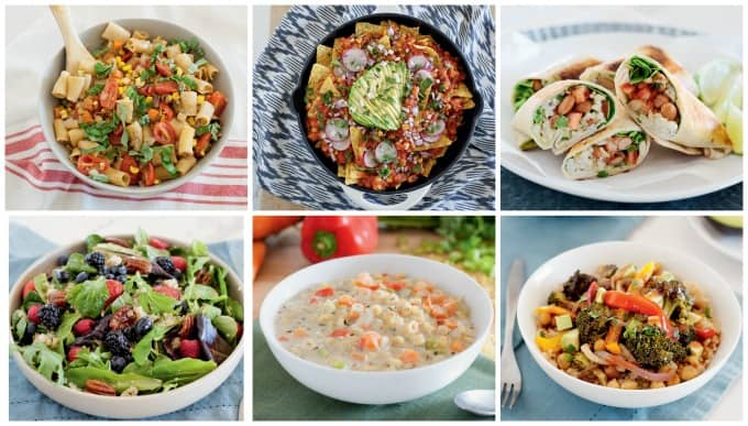 collage of 6 recipe photos from the meatless monday family cookbook