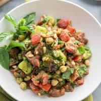 Oil-free Pesto Tomato Chickpea Salad - Vegan Gluten-free