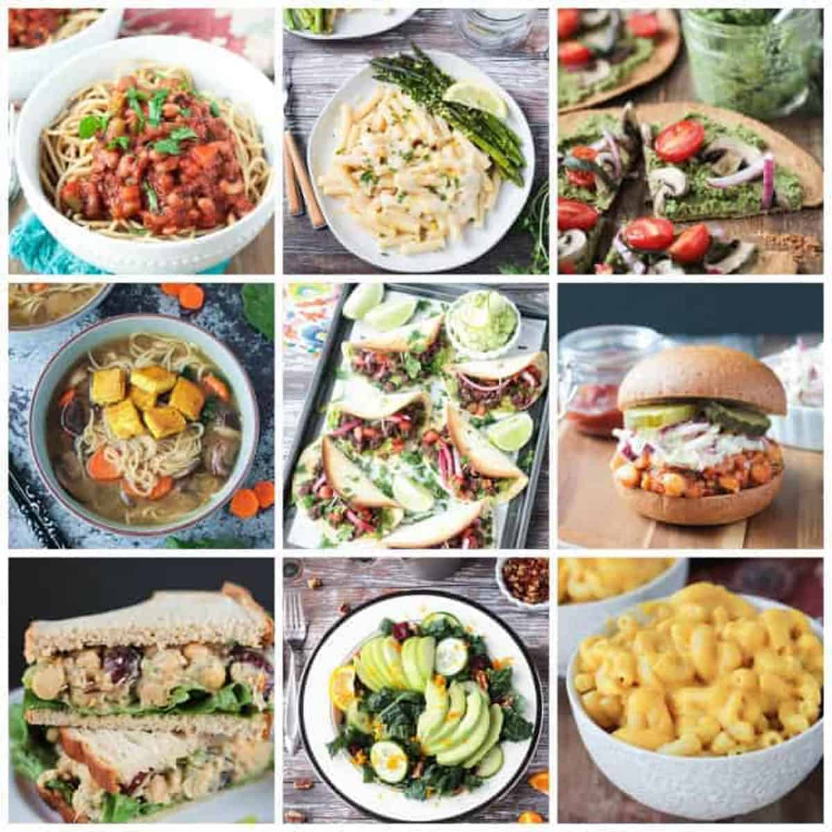9 photo collage of popular plant based diet recipes.