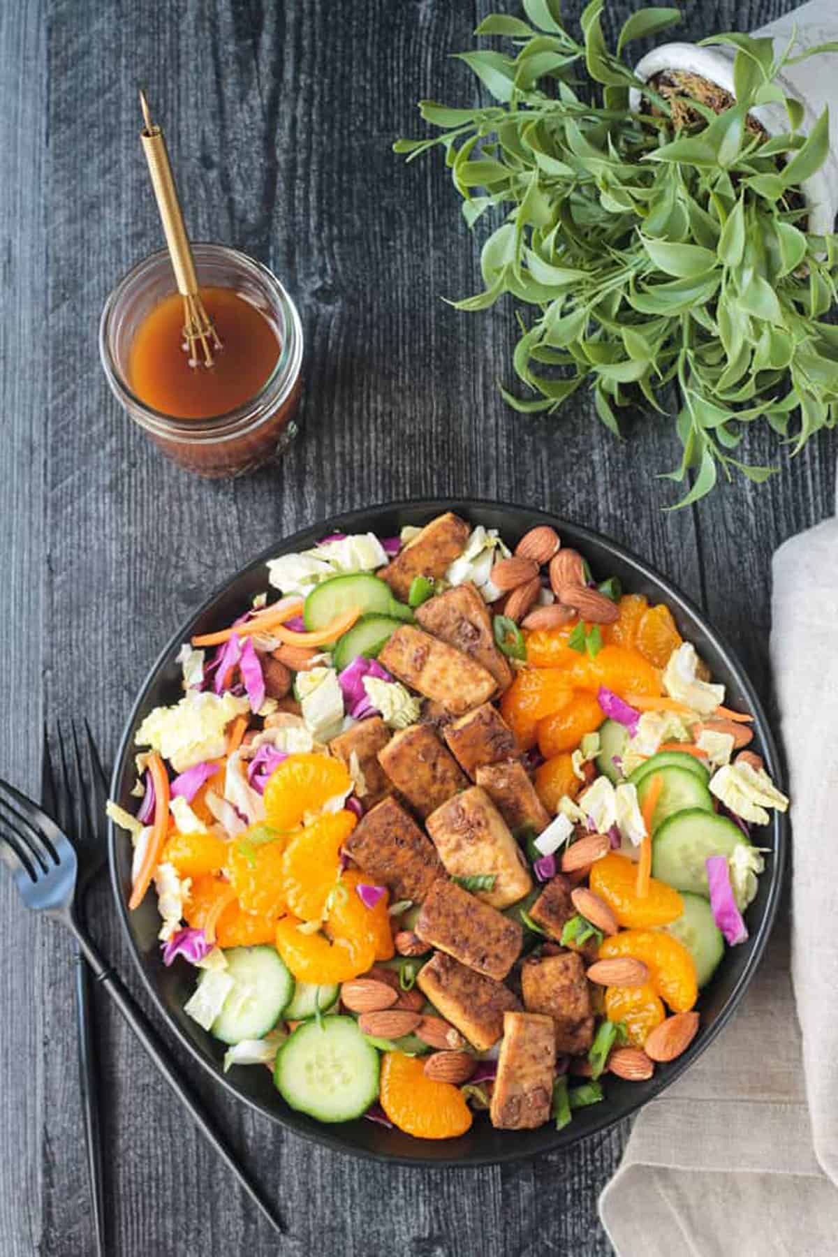 Salad w/ green and red cabbage, cucumbers, mandarin oranges, carrots, and baked tofu.