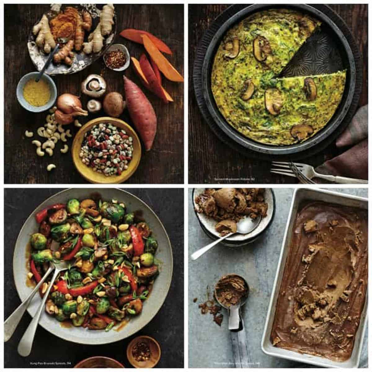 4 photo collage of recipes from the cookbook.