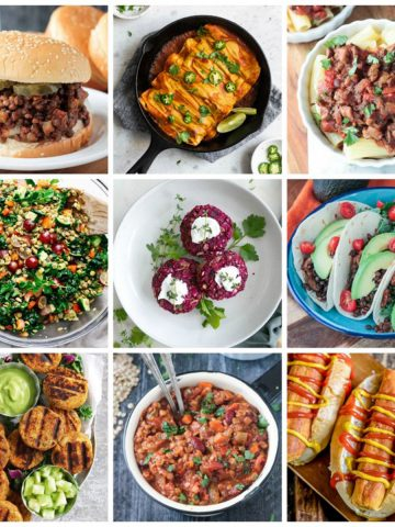 9-photo collage of a variety of vegan lentil recipes.