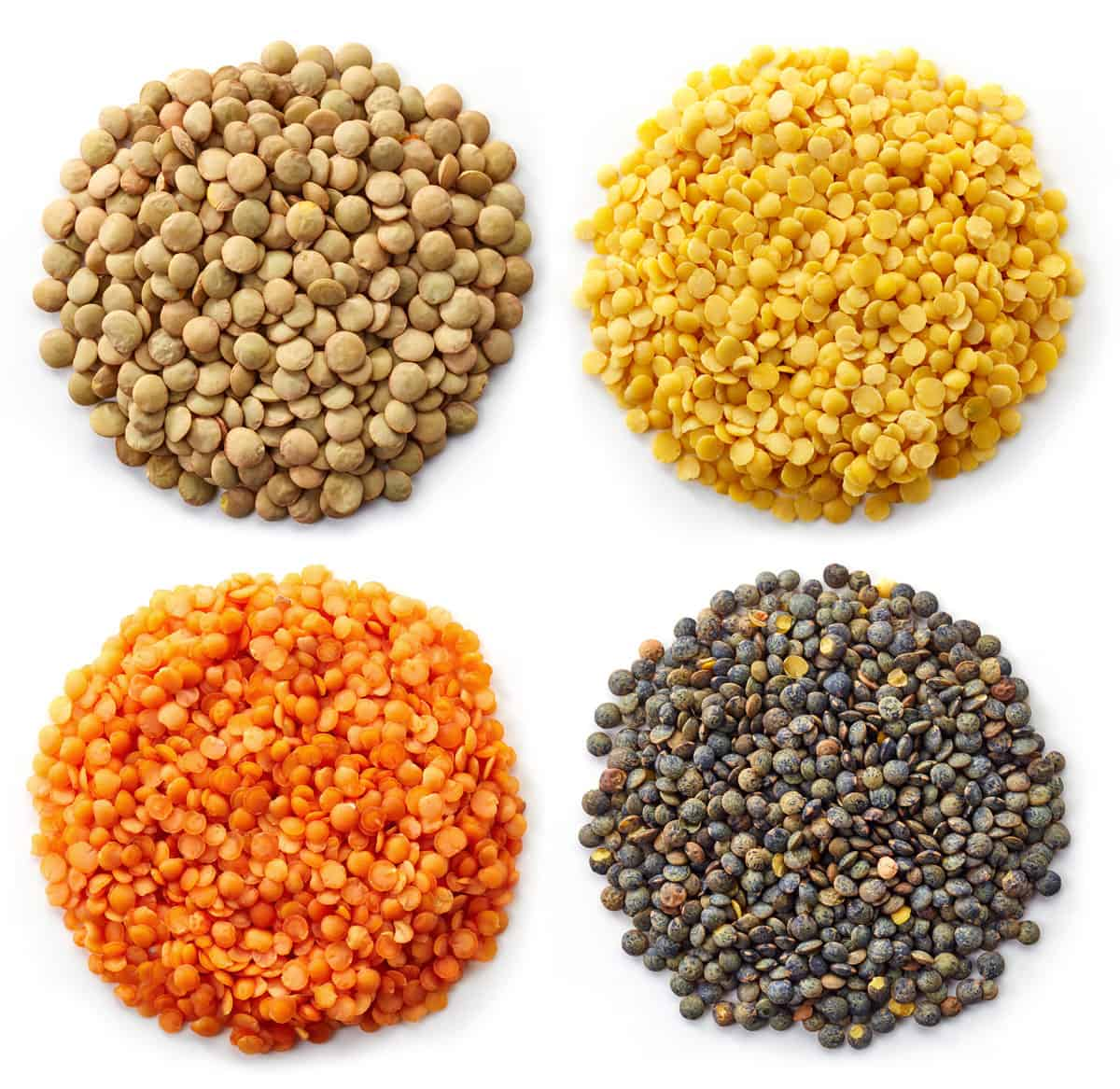 4 varieties of dried lentils: brown, yellow, red, and black.