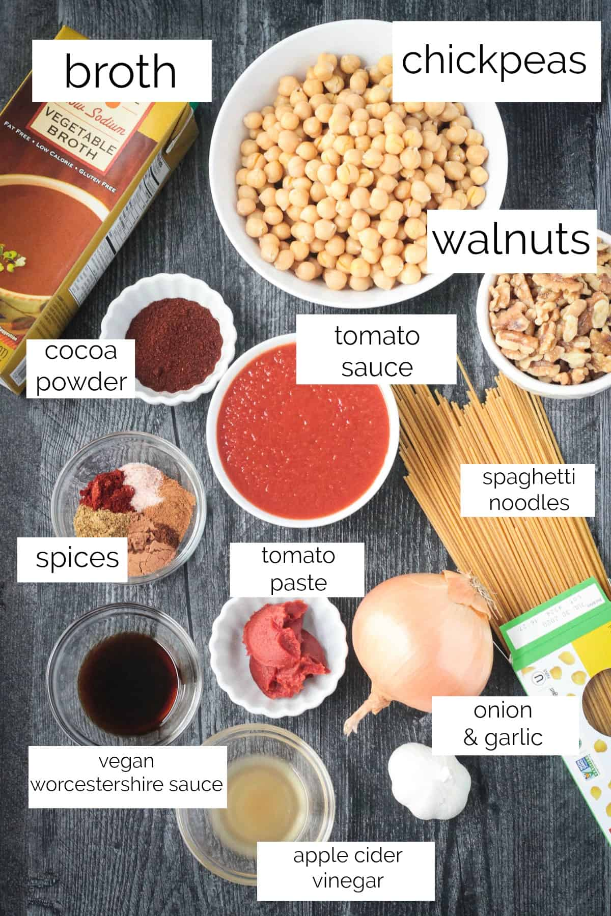Ingredients: chickpeas, walnuts, broth, tomato sauce, onion, garlic, spices and more.