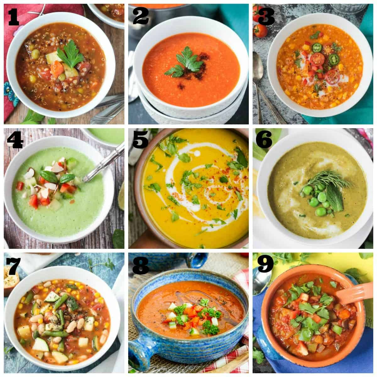 9-photo collage of summer soup recipes.