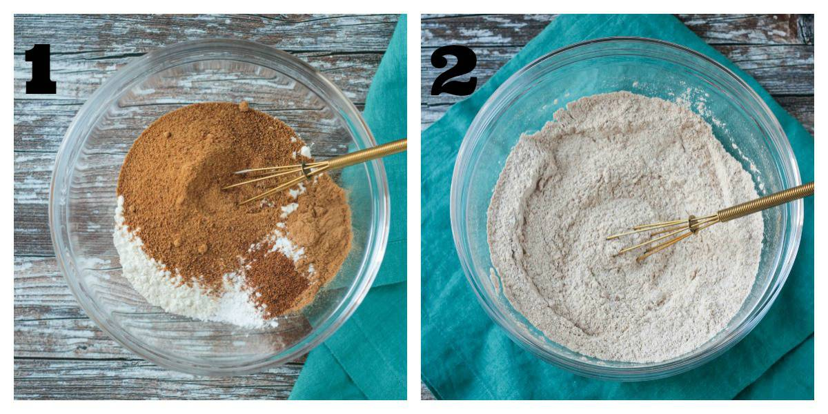 2 photo collage: dry ingredients; ingredients whisked together in a bowl.