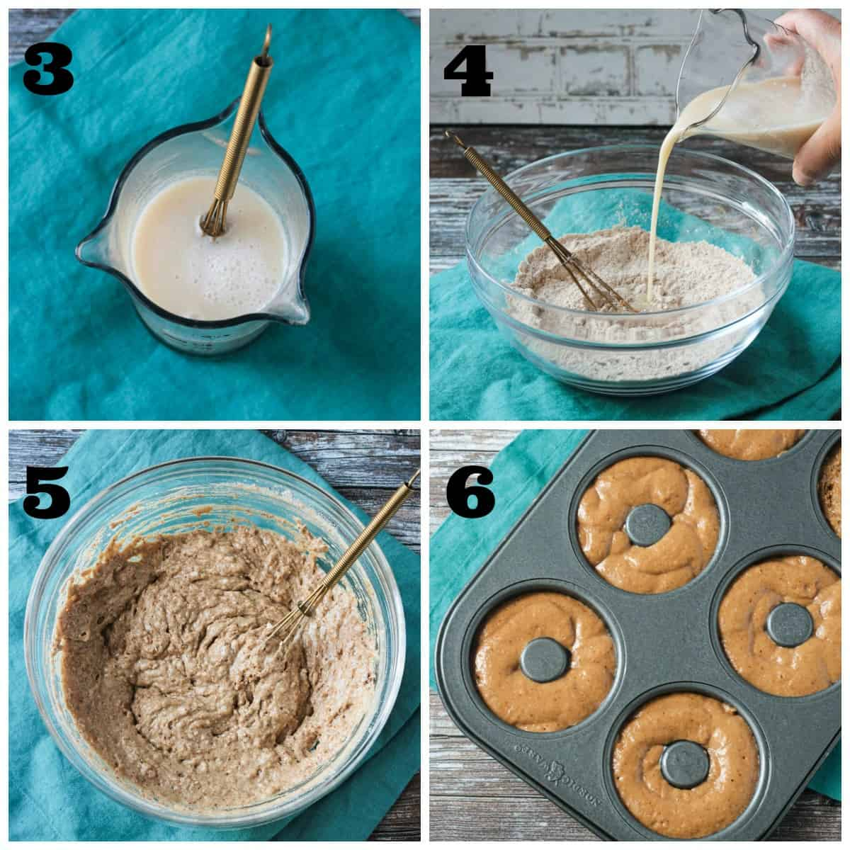 4 photo collage: wet ingredients in cup; pouring into bowl; whisking; batter in donut pan.