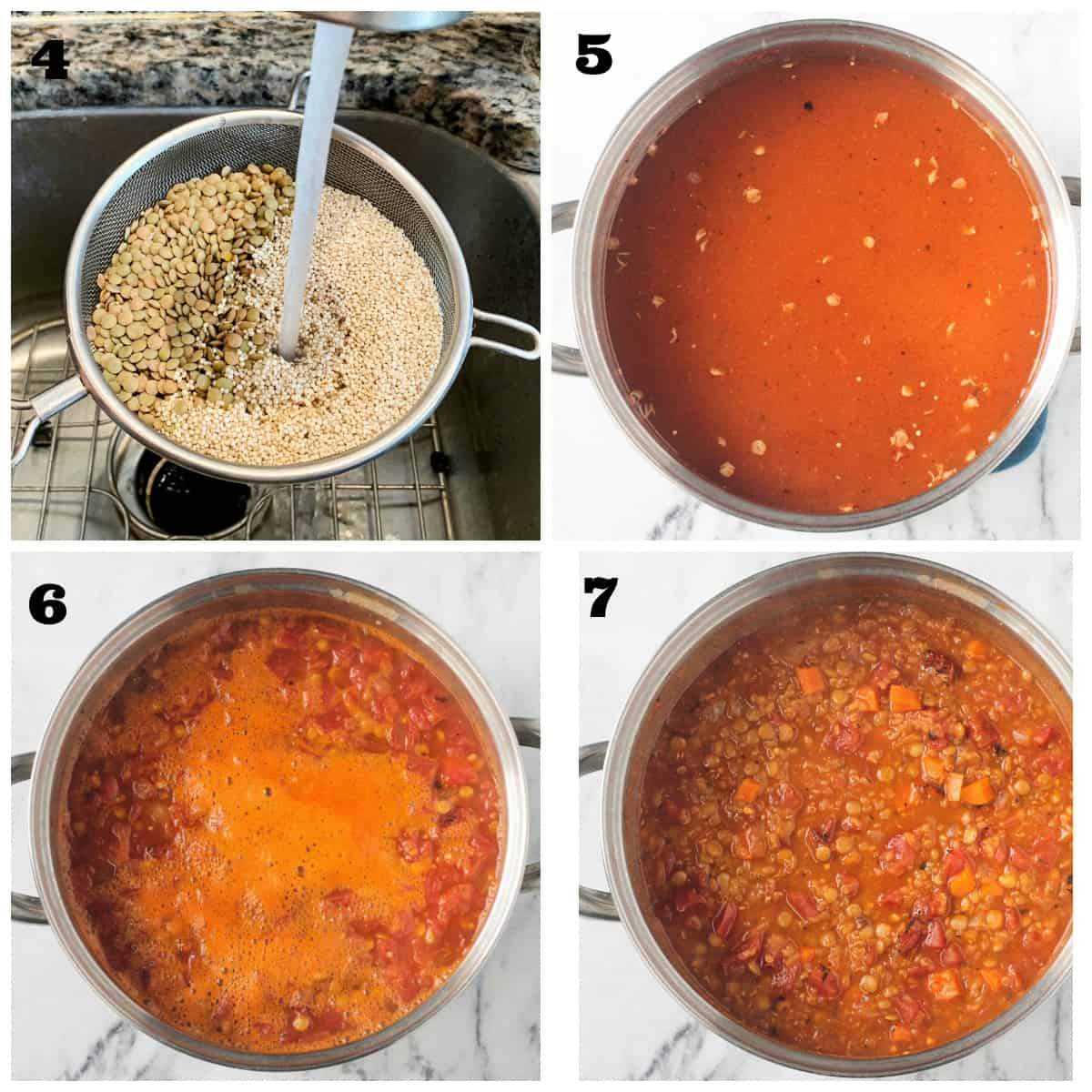 4 photo collage: rinsing lentils & quinoa; adding to pot with tomatoes and broth.