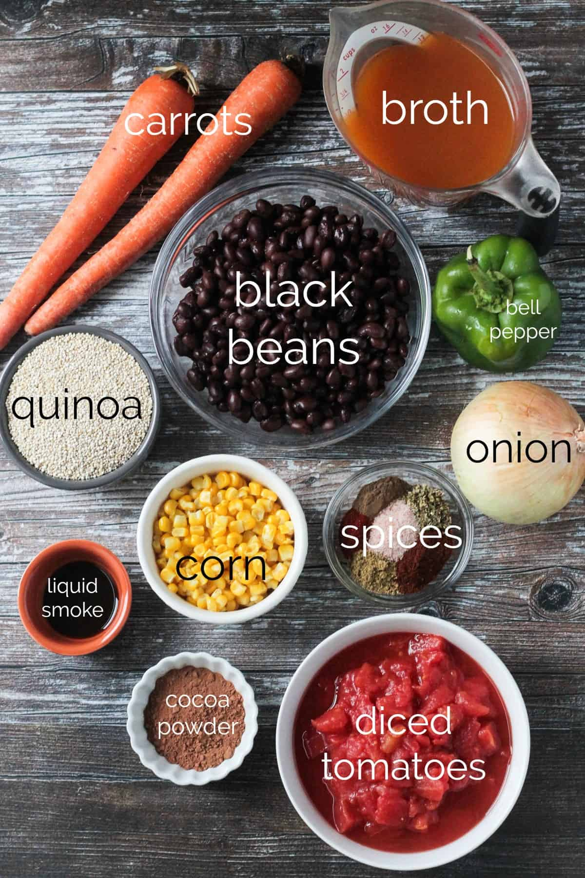 Individual recipe ingredients for Black Bean Quinoa Chili arrayed in separate bowls.