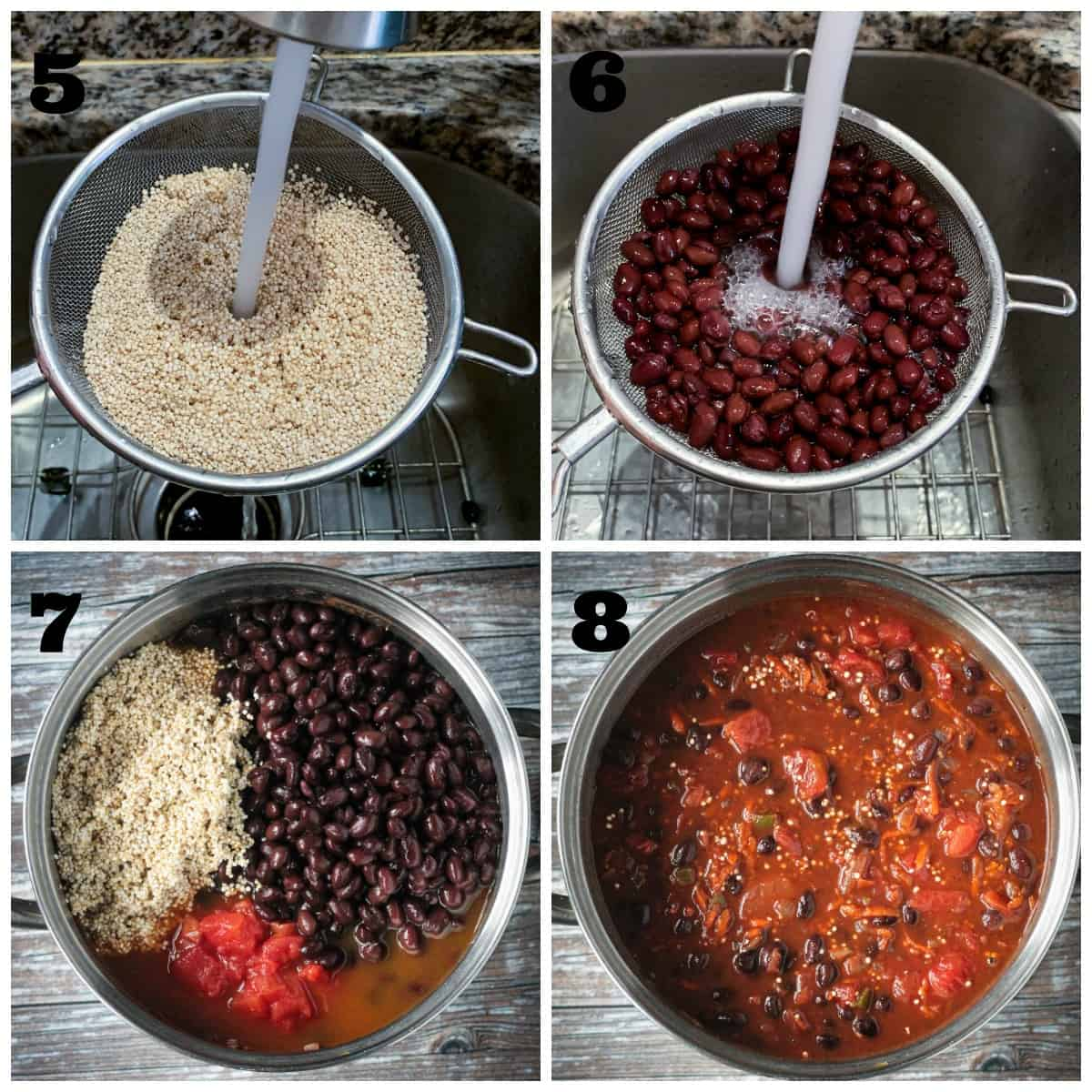 4-photo collage: rinsing quinoa; rinsing beans; added to pot; combined with tomatoes & broth.
