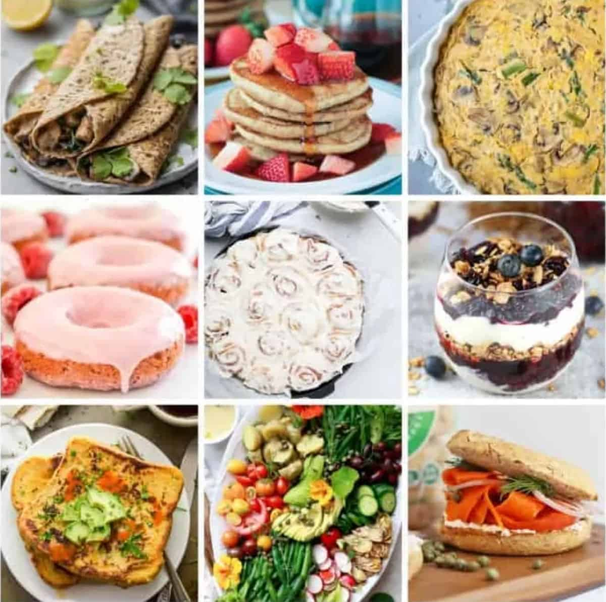 9-photo collage of vegan brunch recipes.