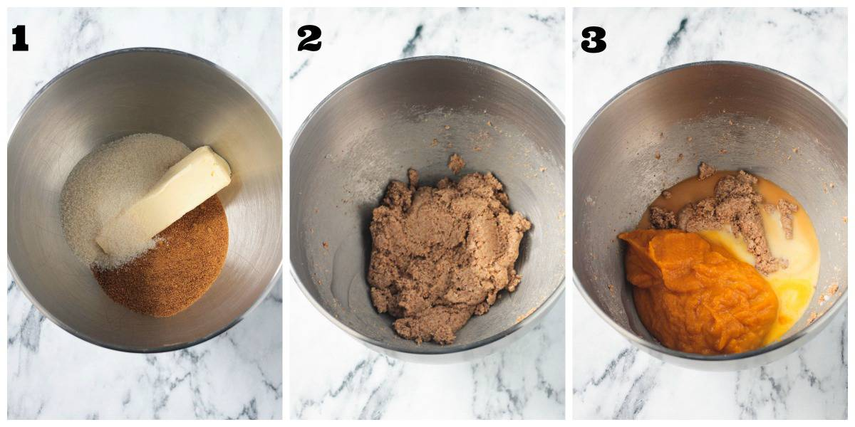 3-photo collage of creaming butter, sugar, and wet ingredients in a mixer.