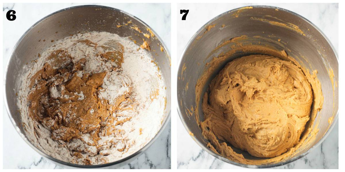 2 photo collage of mixing dry ingredients with wet in a mixer.