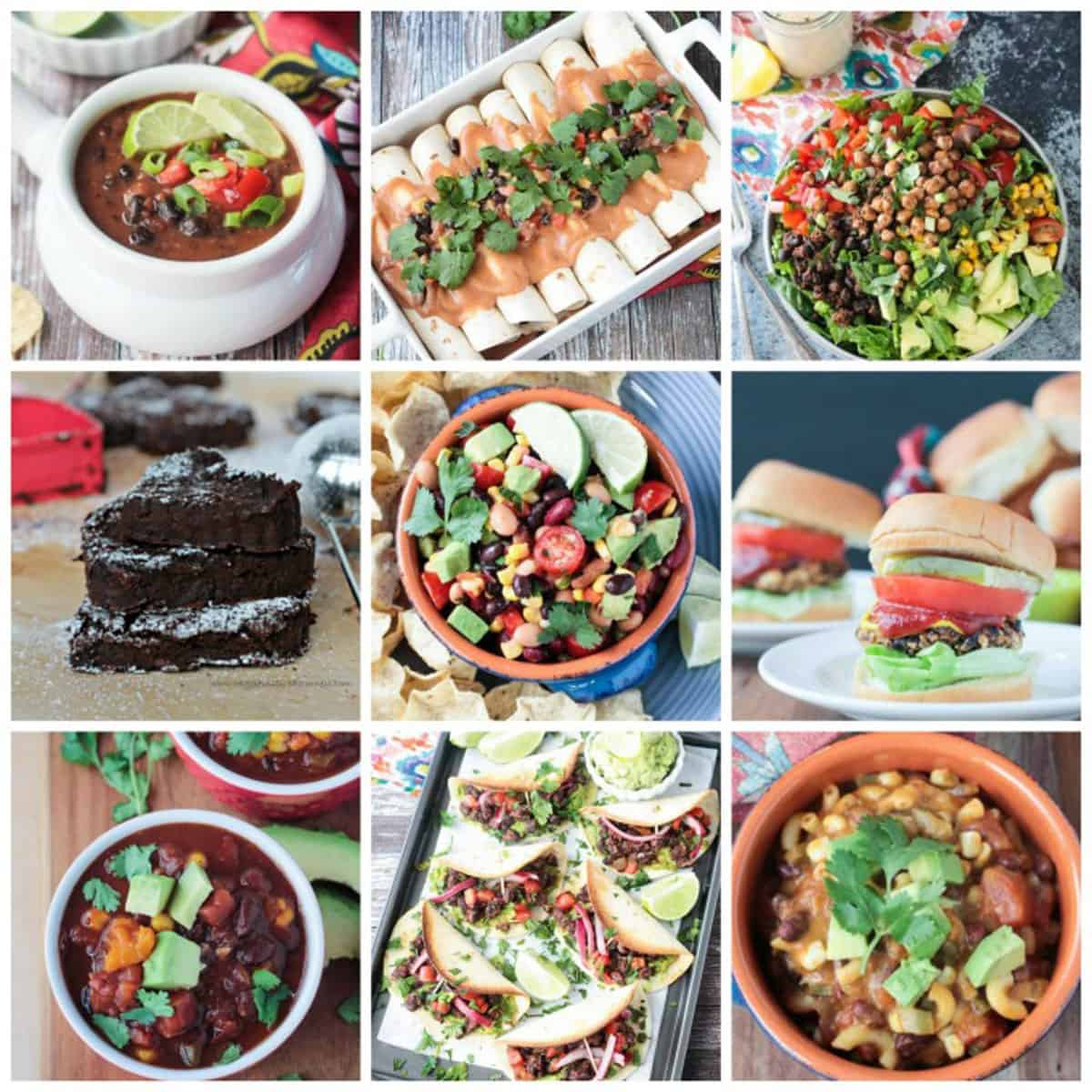 9-photo collage of a variety of recipes with black beans.