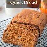 Sliced loaf of vegan pumpkin bread with pears.