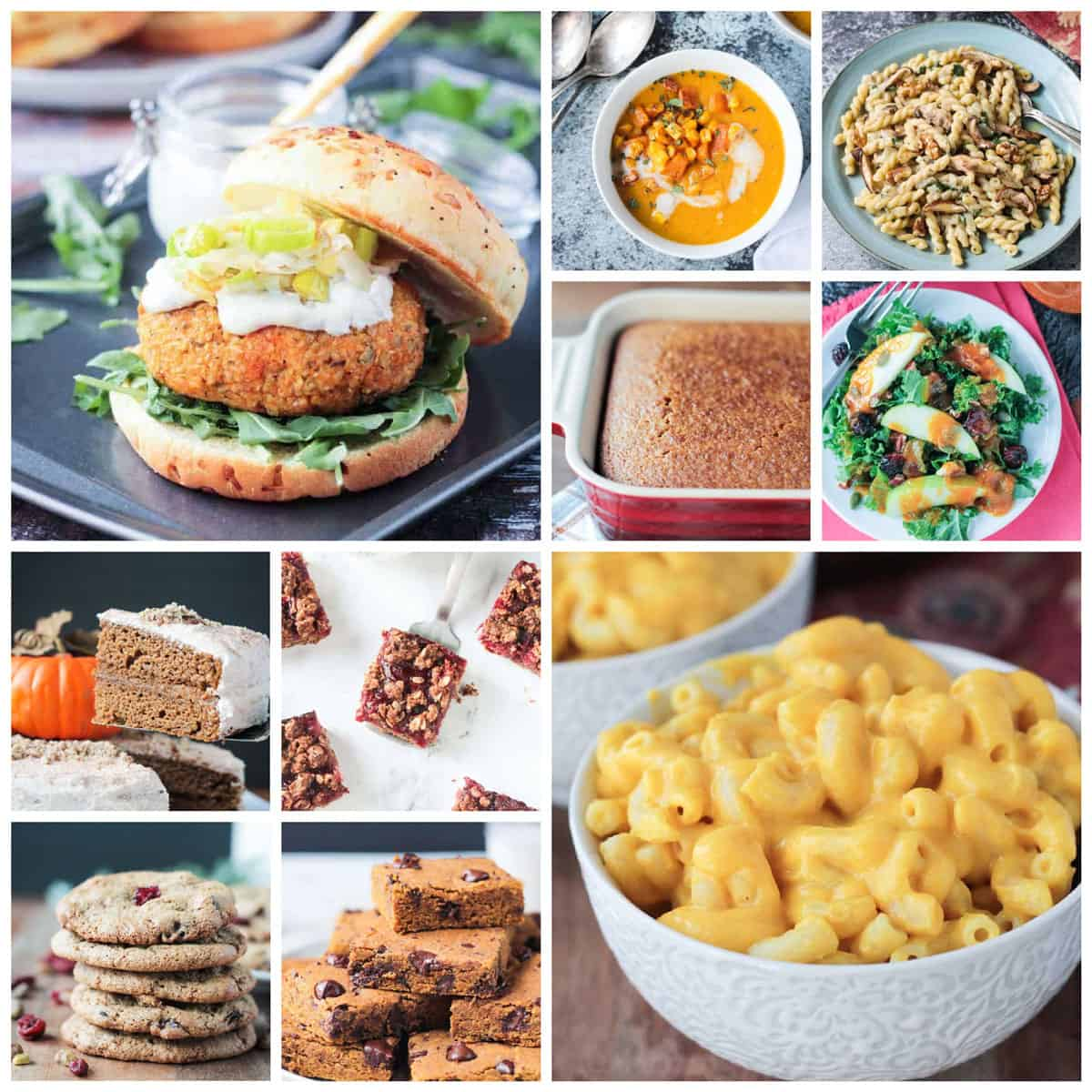 10 photo collage of vegan thanksgiving recipes.