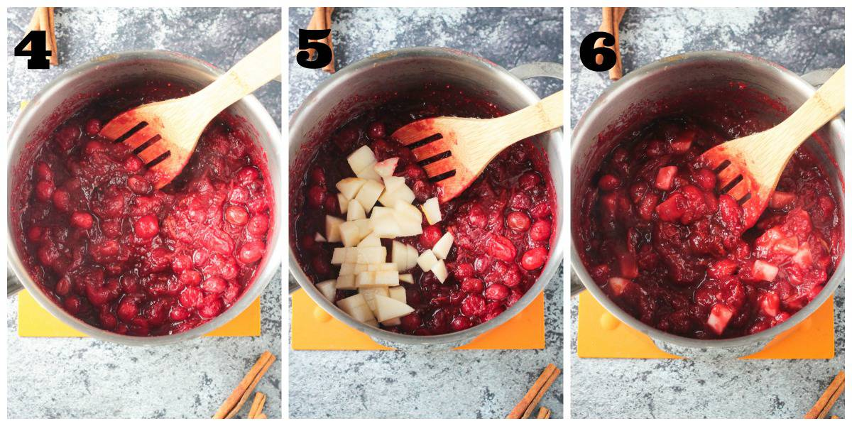 3 photo collage of cooking down cranberry sauce in a pot and adding pears.