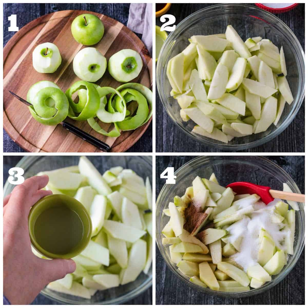 4 photo collage depicting peeling & slicing apples and mixing them with spices.