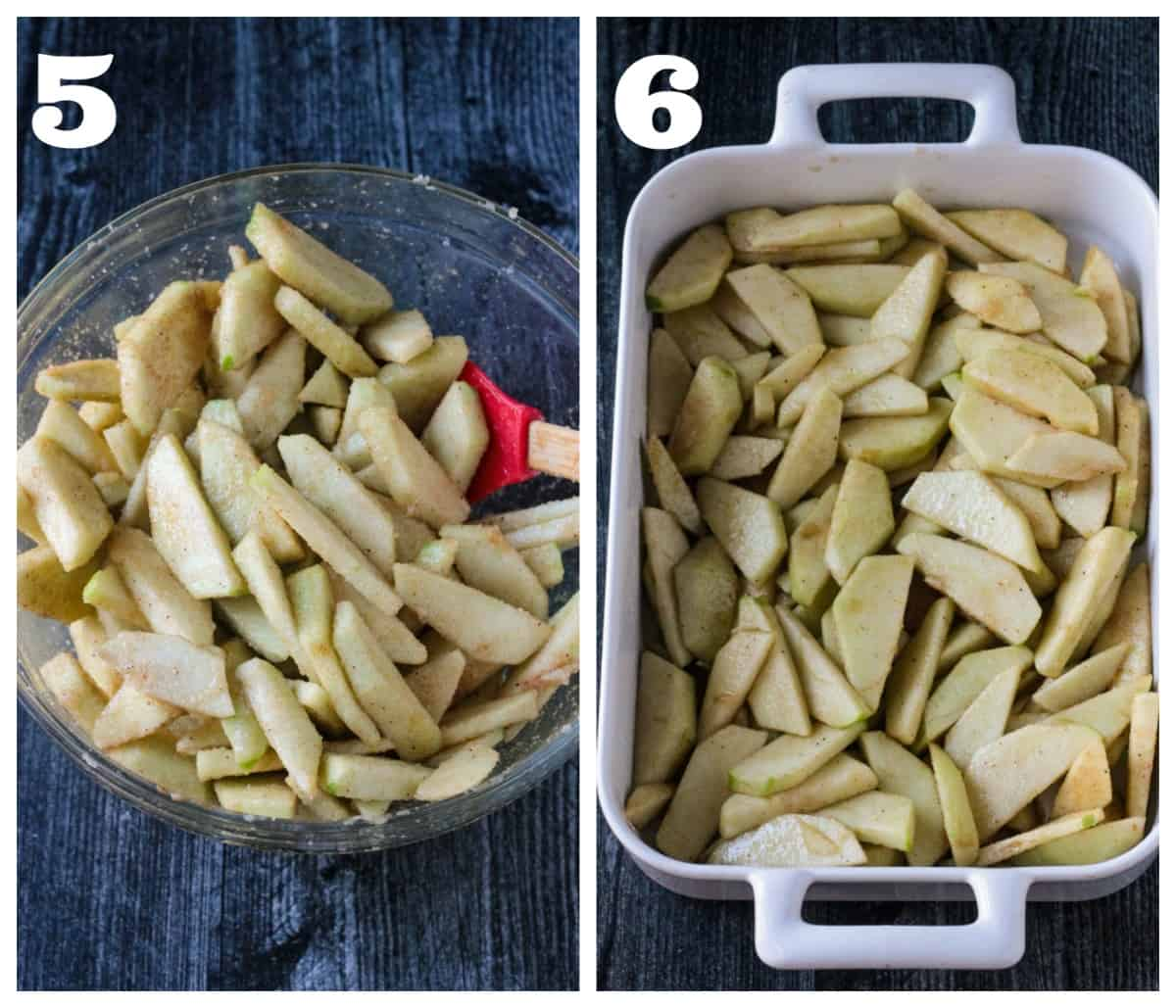 2 photo collage depicting filling a baking pan with sugar spiced sliced apples.