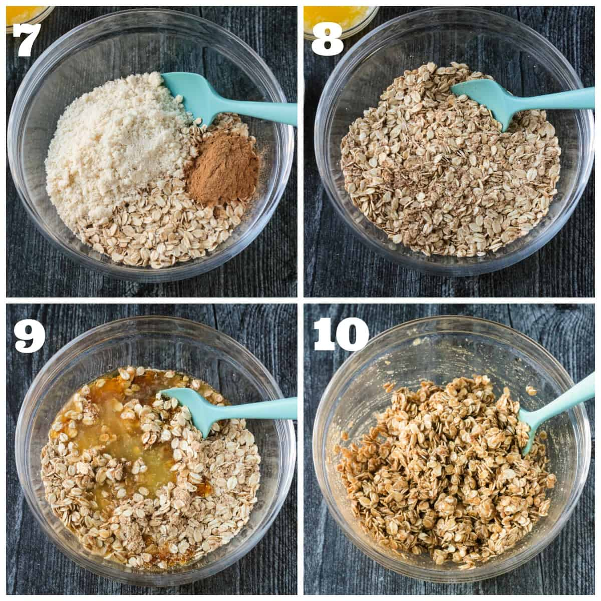 4 photo collage of prepping and mixing the oat topping.
