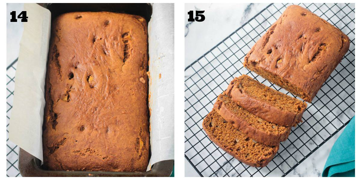2 photo collage: baked loaf in pan; sliced loaf on cooling rack.