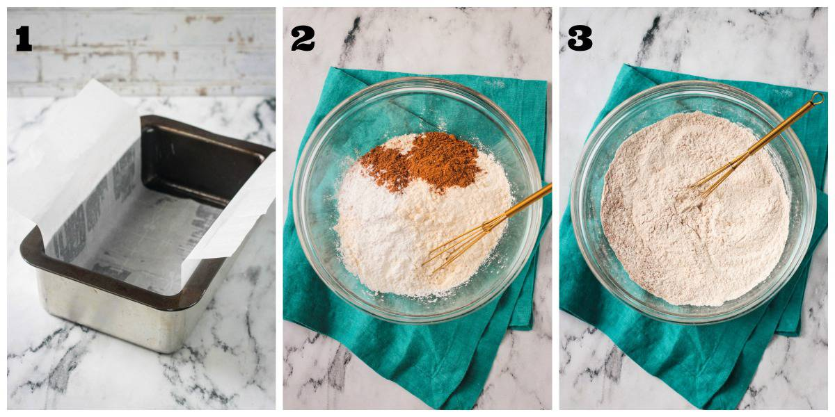 3 photo collage: loaf pan and dry ingredient prep.