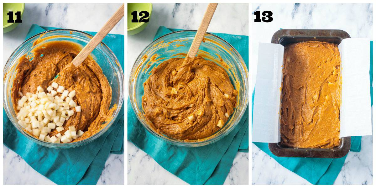 3 photo collage: adding pears into the bread batter and pouring into loaf pan.
