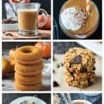 6-photo collage of vegan pumpkin recipes.
