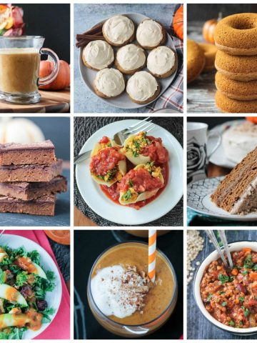 9-photo collage of a collection of vegan pumpkin recipes