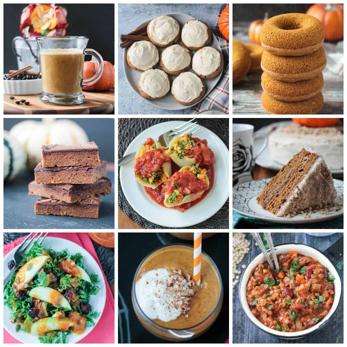 9-photo collage of a collection of vegan pumpkin recipes.