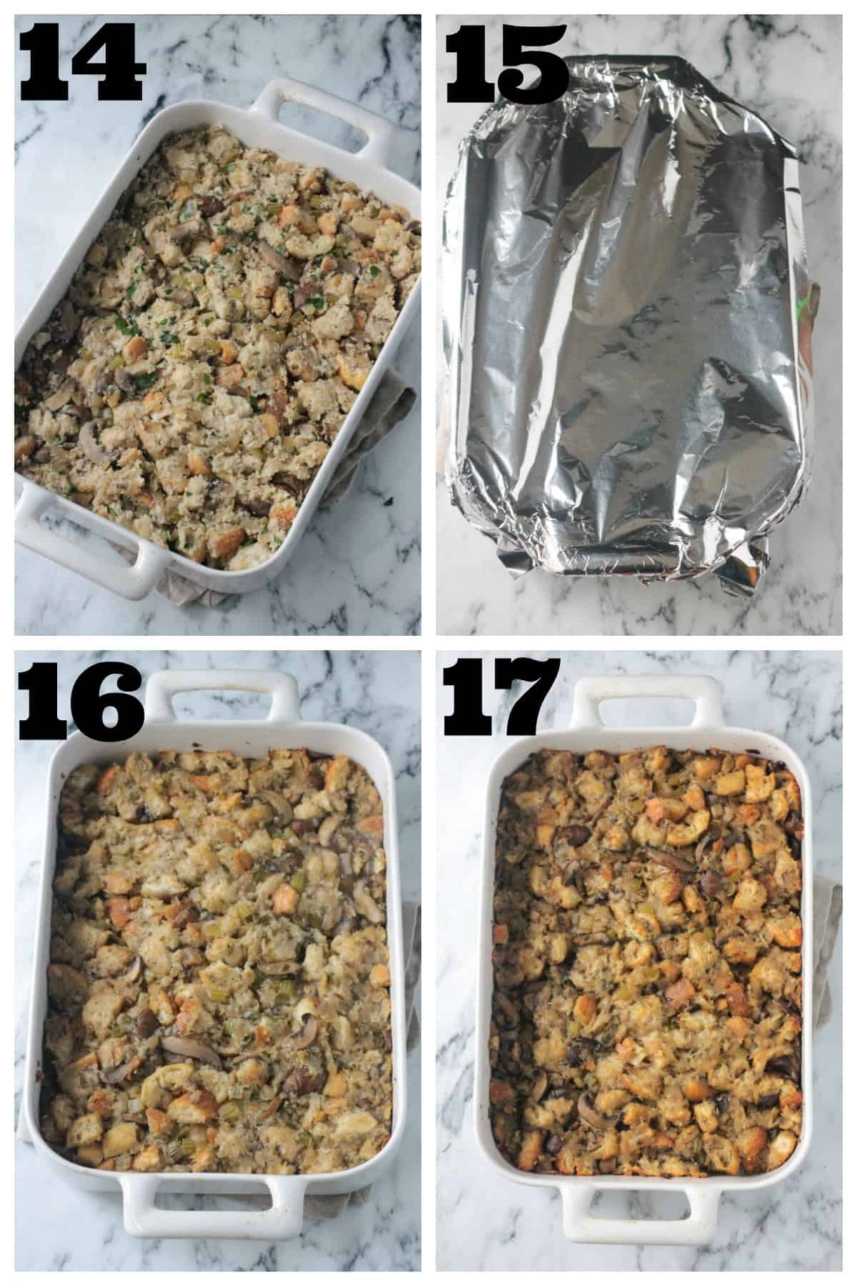 4 photo collage: uncooked mixture in pan, covering w/ foil and baking.